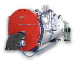The THD-U is an industrial steam boiler producing 500 to 5000 kg/hr of steam with maximum pressures of 10 and 13 bar. The steam boiler can be fired on oil or gas. Hoval high output steam boilers are made of high quality steel and are distinguished by their sol...