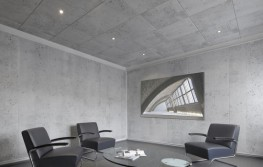 """Reflective"" is yesterday's concrete! The Opus ceiling tile is an in-house creation by the OWAconsult® design team and was developed to make modern exposed concrete look ""harmonious"". Ceiling tiles with hidden construction and concealed joints form acoustically effective yet elegant, fluid ceiling surfaces that give an unbelievably realistic concrete look."