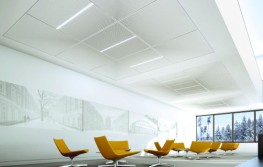 Pix lets you accent acoustic ceilings in completely new ways. Combine with our Sinfonia fleece-covered ceiling tiles to open up a whole world of ceiling designs and to emphasize room zones. You can change your preferred pattern at any time, because every ceiling tile is removable. Alter the colour of the dots to fit with your personal concept – ideal for creative and highly individual interiors. Let these ceiling pixels unleash your creativity!