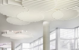 Baffles work together to create a simple, rounded shape. A ceiling canopy like a cloud. In a group, staggered in height, the baffles penetrate each other to create attractive visual effects. Dynamic ceiling design underneath thermally activated ceilings while still delivering the same acoustic optimisation. An optional light makes the Cloud glow.