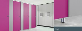 Attractive and practical, a great value washroom for all dry areas.A competitively priced robust toilet cubicleArchitectural polished aluminium door furniture and fittingsHPL doors and divisions with choice of: 18mm thick square edge HPL pilasters with mat...