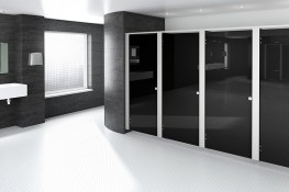Minimalist and streamlined washroom cubicle, this is modern design at its best.