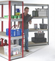 Heavy duty shelving with three shelf levels as standard. Components include four uprights, channel beams, beam ties and feet. Each shelf is topped with 18 mm thick FSC compliant chipboard and extra shelves are available along with size and colour options....