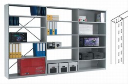 Closed shelving with six shelf levels as standard and slim, double skin panel uprights. The double skin allows the full shelf width to be used, with clear unimpeded access for easy insertion and removal of files. The rear of the bays can either be clad or open...