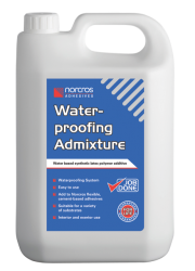 Norcros Waterproofing Admixture is a water based synthetic latex polymer designed to provide a waterproof system when used as a direct replacement for water to mix Norcros flexible cement-based adhesives.