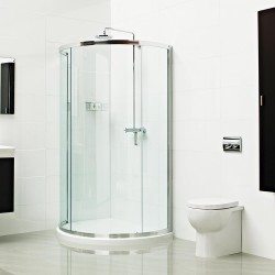The cleverly shaped Lumin8 Bow Fronted Quadrant will make the most out of your available bathroom space. The weight of the 8mm thick glass presents a smooth gliding door action; the sliding door avoids obtrusion into the bathroom space and into the showering s...