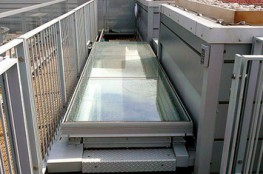 Surespan SLHGE Aluminium, thermally broken, single leaf, electrically operated, multi-pane Glazed, sliding roof access hatch