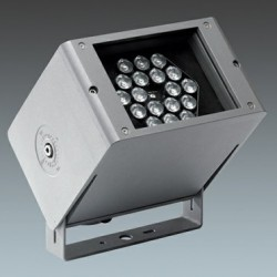 Compact, rectangular floodlight using white and coloured LEDs to light façades and architectural features