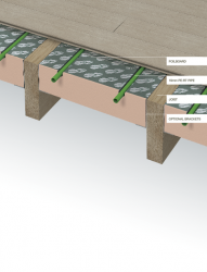 Timoleon FoilBoard Suspended is an insulated underfloor heating panel installed between the joists of a suspended floor. To hold the panels in place brackets (or battens) are installed within the joist space to ensure that the system is in direct contact with ...