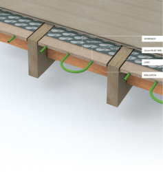 The InterDeck system is used in a suspended floor when the floor deck is already in place. The InterDeck panels are manufactured with an integral heat diffuser so that they can be fixed to the underside of the floor deck.