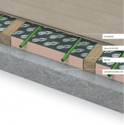 The Timóleon FoilBoard system can be laid between timber battens. The FoilBoard panels are manufactured from XPS insulation with pre-bonded soft temper aluminium heat diffusers. As no thick rigid plates are used the panels can be easily trimmed on site.