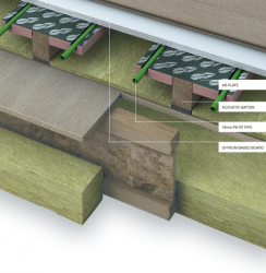 """The AB Plate system is installed in batten floors used in conjunction with acoustic or resilient floor constructions. The AB Plates are pre-formed diffuser plates with integrated insulation improving the transfer of heat into the floor deck. The """"wings"""" of..."""