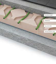 OgeeBoard is manufactured from XPS polystyrene insulation and can replace the insulation needed to comply with building regulations. The polystyrene boards are routed with channels into which the pipe is installed. With the pipe installed a screed is laid over...