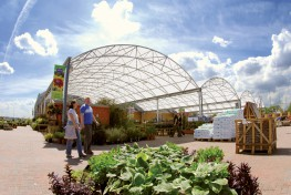 Formed by the extrusion of a symmetrical curve, the barrel vault design is perfect for covering large spaces efficiently. This canopy is available in linear or curved in plan designs....