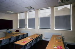 50/50 Fabric® offers users greater control over their environment by using two different types of fabrics with different solar shading properties.An opaque fabric at the top protects projection screens and whiteboards from glare while a mesh fabric at the b...