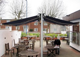 Functional and versatile free-standing back-to-back Butterfly Awnings are an ideal option where wall mounting is not practical.´  Tolerant up to Beaufort Force 6 conditions´  Customised galvanised steel, aluminium or timber goalpost mounting frames´  Up...
