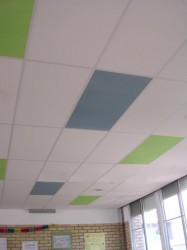 Self-supporting rigid acoustic panels manufactured from mineral fibres intended for use with suspended T-grids.They have extremely high sound absorbing properties with excellent mechanical resistance....