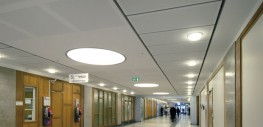 Highly functional acoustic ceiling solution for corridors.