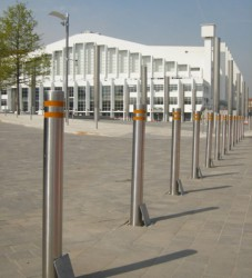 A tall telescopic bollard designed to have high visibility due to the products height above ground. Currently used for restricting vehicle access to stadiums and universities as well as protecting pedestrian areas within town centres.