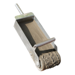 Mortar is easily dispensed onto the Porotherm block when the mortar applicator is used....