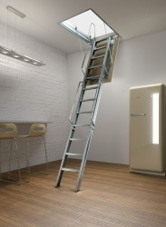 Fantozzi Tre 3 Section Steel Folding Loft Ladder - Loft Centre Products