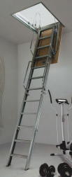 The Fantozzi Quattro Ladder offers reliable and robust access into a variety of applications. The heavy duty 4 section steel folding ladder comes supplied with its own hatchbox and trapdoor ready to fit into a range of loft opening sizes.