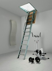 Fantozzi Quattro 4 Section Steel Folding Loft Ladder - Loft Centre Products