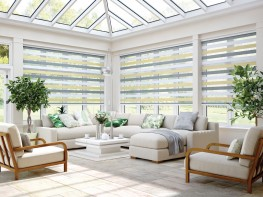 Louvolite provide many made to measure conservatory shading solutions. Most popular is Louvolite Perfect Fit® but our roller, roman, vertical, pleated and cellular blind systems paired with Louvolite's stylish high performance fabrics are efficient in light and heat control, anti-glare and protecting the interior from sun damage.