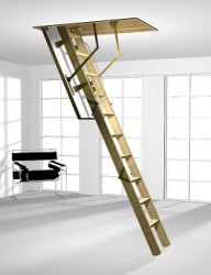 Classic Type 500 3 part folding wooden ladder complete with a wooden hatchbox and insulated trapdoor.
