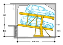 """Reduced headroom created by """"tilting"""": upper platform with horizontal access, lower platform sloped: 8 degrees/ 14,1%. If overall headroom is available, systems with higher clearances between platforms can be supplied (see variants).Single units for 2 cars..."""