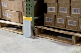 Our heavy-duty shock-absorbing Rack Guards have been designed to protect your pallet rack columns from the damaging blows of forklifts and pallet jacks. No matter which model you choose, these guards keep your racks safe and undamaged by standing up to your strongest equipment.   IMPACT - Rack guard designed to protect the integrity of rack columns from accidental impacts with forklifts and pallet jacks ENERGY ABSORBING DESIGN - Shock-absorbing rubber core. Half-moon shape profile produces a smooth, seamless finish that efficiently deflects impacts STANDARD FIT - Fits any standard pallet rack 3˝ x 1˝ or 3˝ x 3˝ column RUST PROTECTION - Zinc electroplated finish protect against rust and corrosion.