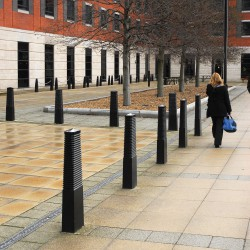 BX 1538Heavy duty cast iron bollard with horizontal ribs and peaked top.Price per single root fixed cast iron bollard painted in a single Broxap colour (black as standard). All options are available at an extra cost....