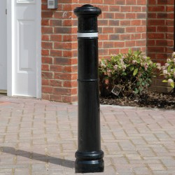 BX 1608Cast iron bollard with cannon ball style top and decorative rings.Price per single root fixed cast iron bollard painted in a single Broxap colour (black as standard). All options are available at an extra cost....