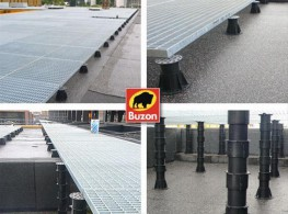 Screwjack pedestal system for support of external raised paving, decking or internal raised floors.