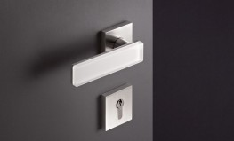 Range 180 Solid Stainless Steel lever and pull handles with optional glass or slate inlays image