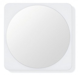 HEWI Mirror: - rectangular mirror with large radii and coloured backpainted edge - backpainting in HEWI colour 98 (signal white) - concealed fixing - 600 mm wide, 600 mm high and 6 mm thick - mirror area ø 560 mm - made of high-quality float glass  60...