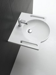 950.11.101 HEWI 600mm Washbasin with integrated grab/towel rail image