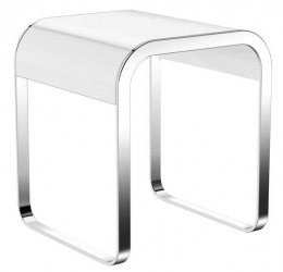 HEWI Stool  - used as a seat in the bathroom - not suitable for use in the shower - white seat - frame made of metal, high-quality chrome - maximum load 150 kg - 400 mm wide, 460 mm high and 400 mm deep...