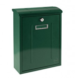Specifications: - Narrow design, ideal when space is limited - Top loading letter slot with protected flap - Easy removal of contents through drop down door.Features: - Includes perspex name plate window - Dimensions: (HxWxD) 328x255x92mm - Flap size: 2...