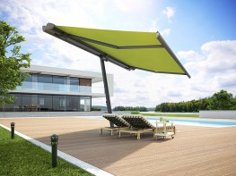 Precisely defining the areas of shade and sun: the markilux planet flex is turnable by 335° so that shade will be cast exaclty where required. The markilux planet is a great stand-alone sun protection – and just the perfect aesthetic complement for any mark...