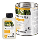 Combination of liquid oils and waxes, suitable for treatment and protection in wet areas of: