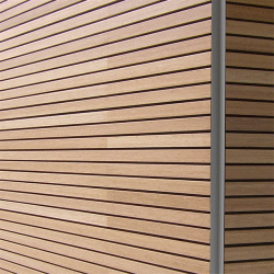 Design-flexible' acoustic timber panel systems. All timber species available, through FSC, PEFC, CSA or other approved sources. Suitable for concrete block, steel framing system (SFS) or timber/ dry wall stud substrates. 