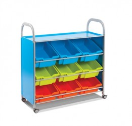Treble width Callero trolley with tilted trays for easy display of contents.  Ideal for younger children to easily access contents. -  Callero treble width trolley in choice of silver or cyan.-  Nine deep trays in your choice of colour and crossbars-  Sup...