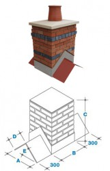 The Churchill is a small, broad-sided chimney with a single 300mm pot. It is a popular size for mid and end-ridge applications, often used with the broad-side perpendicular to the ridge. 