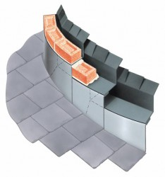 A range of curved cavitrays for use in curved cavity walls. Supplied with self-supporting cavity upstands, segmented to permit appropriate flexibility to accommodate the turn of the cavity. Concave or convex format. Curved cavitrays for sloping abutments. All curved cavitrays are priced on a bespoke basis, and we provide a schedule of recommendations and requirements for your consideration and approval.