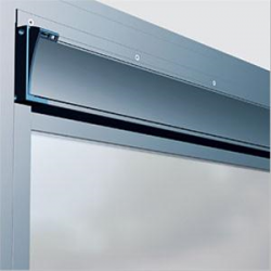 Horizontal-strip, adjustable-flap, compact aluminium ventilator with acoustic insulation, for glazing-in, overframe or wall mounting.