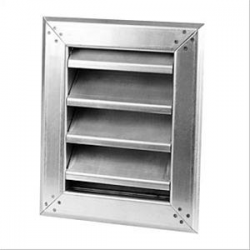 Framed-panel, single bank, inclined-blade, fixed-louvre stainless steel ventilator, for wall recess mounting.