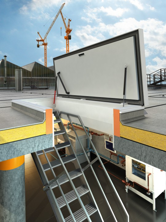 Roof Access Hatch With Fixed Stairs By Staka Roof Access