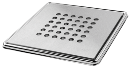 Round' Brushed Square Grating and Frame 150mm x 150mm x 5mm  **Solid Stainless Steel - On The Level Showers Ltd