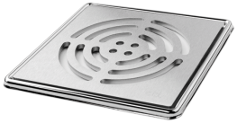 Large Circle' Brushed Square Grating and Frame 150mm x 150mm x 5mm **Solid Stainless Steel - On The Level Showers Ltd